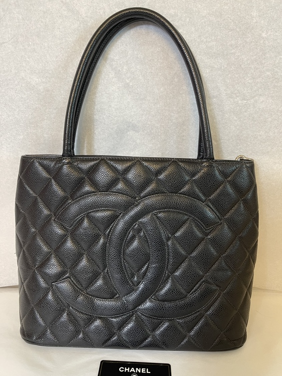 Vintage Chanel Madellion Quilted Leather Black