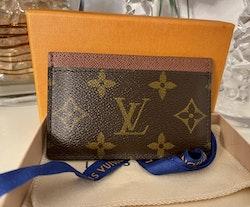 LV Cardholder Monogram Canvas Armagnac Brown Leather Trim