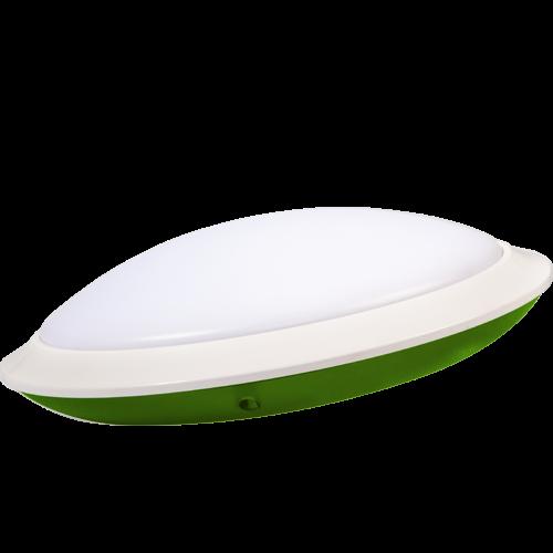 AB Arlemark takarmatur med sensor från Lamptime för korridorer och trappuppgångar med grön aura