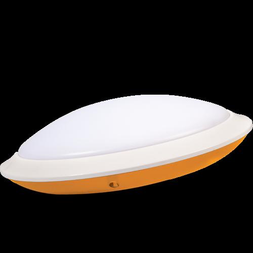 AB Arlemark takarmatur med sensor från Lamptime för korridorer och trappuppgångar med orange aura