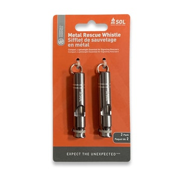 Survive Outdoors Longer Metal Rescue Whistle, 2 Pack