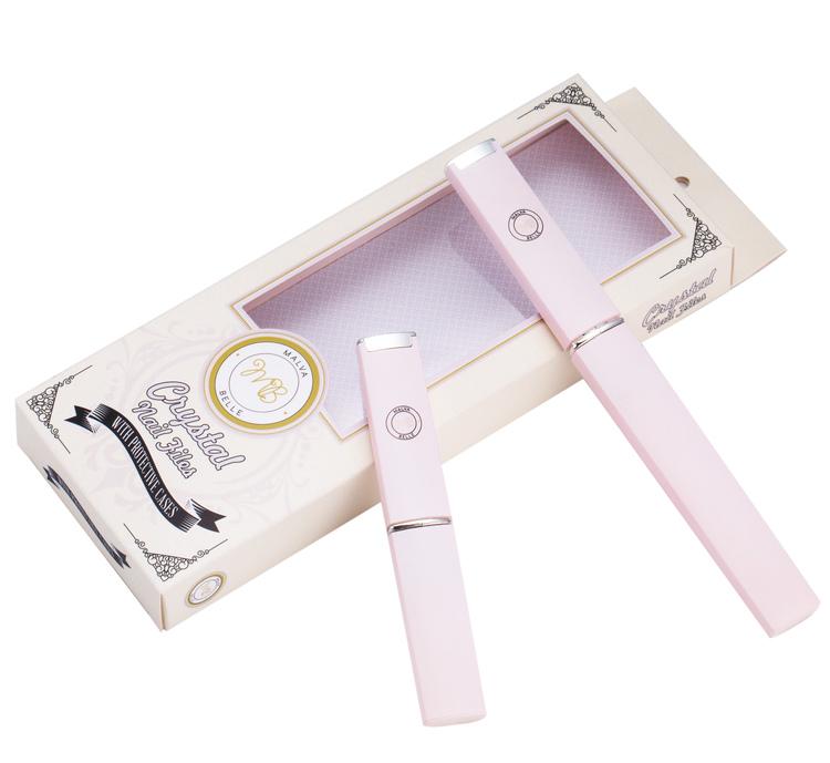 Ljusrosa Glasnagelfil Mini + Maxi - Malva Belle