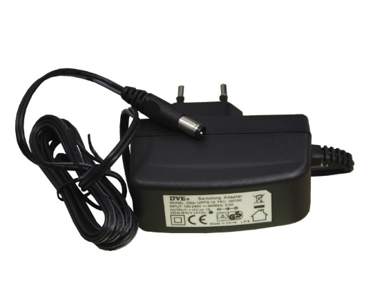 Transformator stabiliserad 12VDC 1A plug