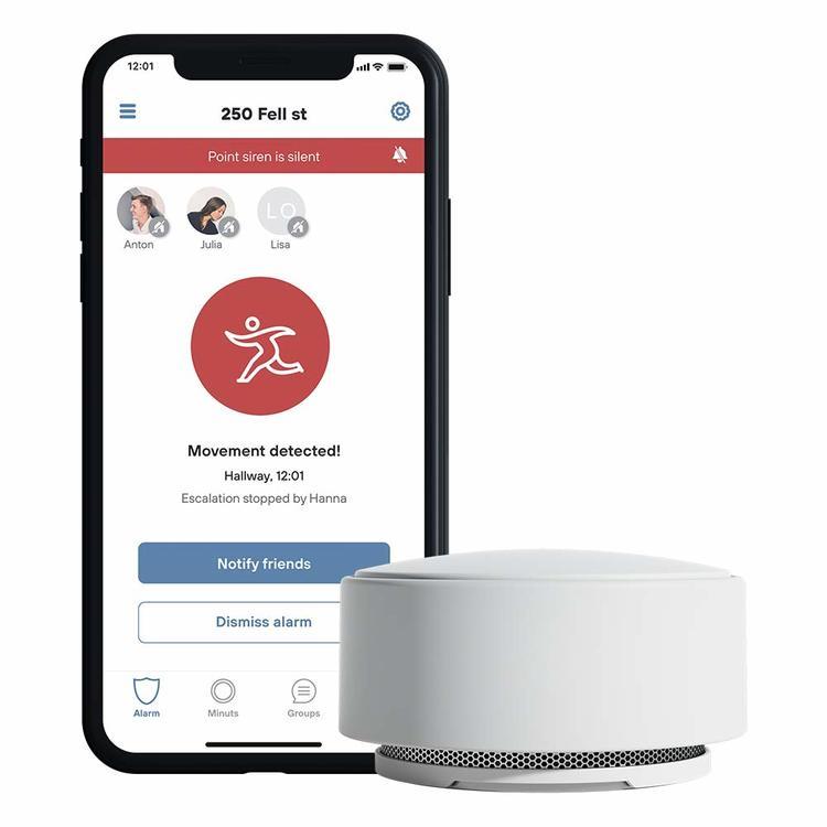 Minut Smart larm (Allt-I-Ett-Enhet) Inbrottslarm, Brandlarm, Temperaturlarm & Sirén kopplad till Google Home