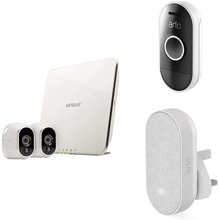 Arlo - HD Wireless Home Security Camera System with Cloud Storage Included, 2 camera kit + Smart Doorbell and Chime included