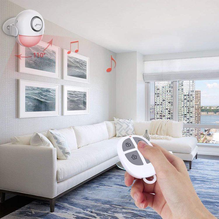 Alarmsensor med inbyggd Siren (Allt-I-Ett-Enhet) Inbrottslarm, Fjärrkontroll & Sirén