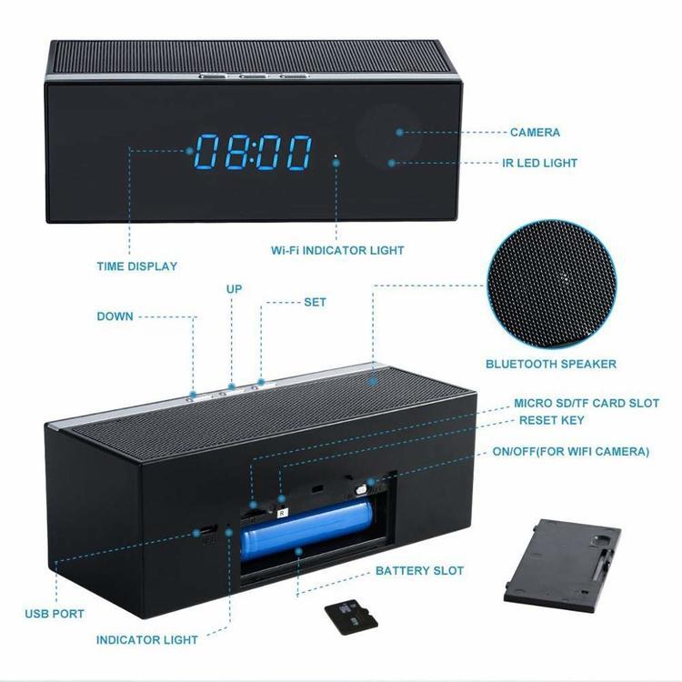 WIFI IP Dold Kamera i kombinerad Väckarklocka & Bluetooth-Högtalare