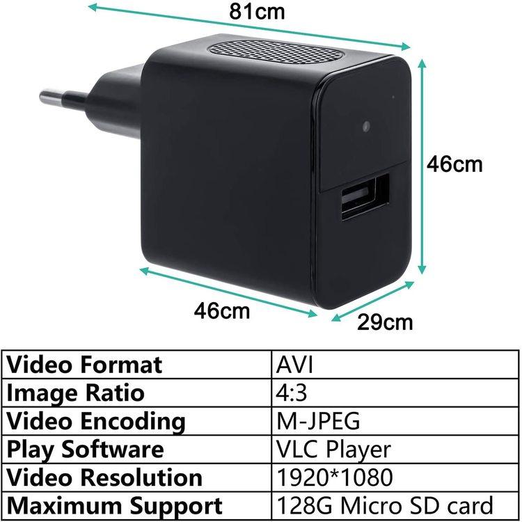 Dold Kamera i laddaren med infraröd sensor