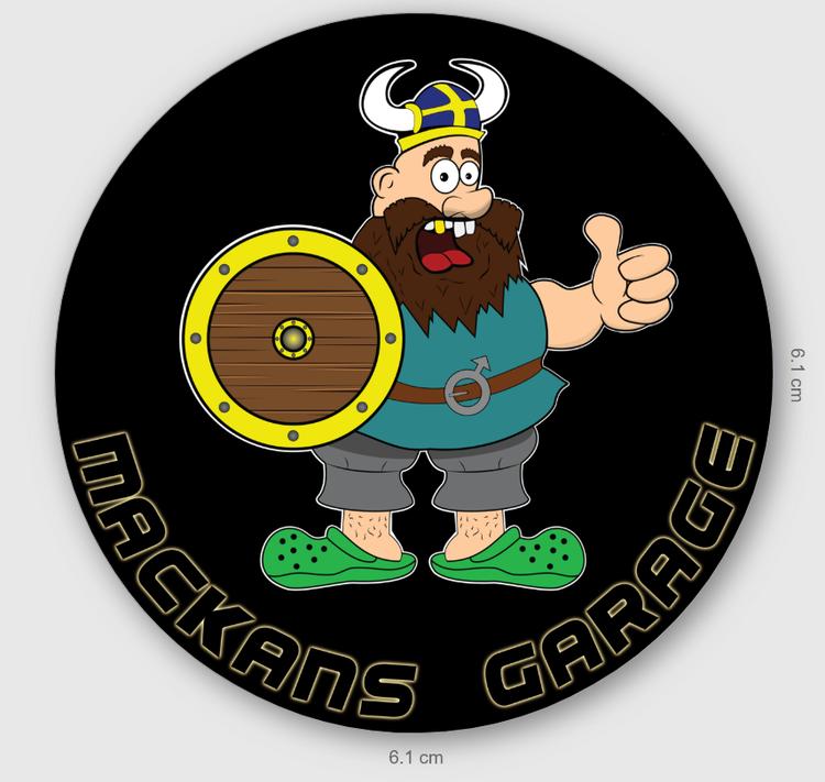 V06 runt samlarmärke Mackans Garage