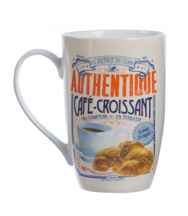 Stor vit kaffemugg med texten café croissant i porslin.