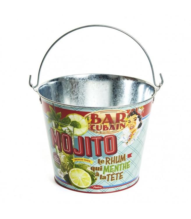 Plåthink för is med texten Mojito.