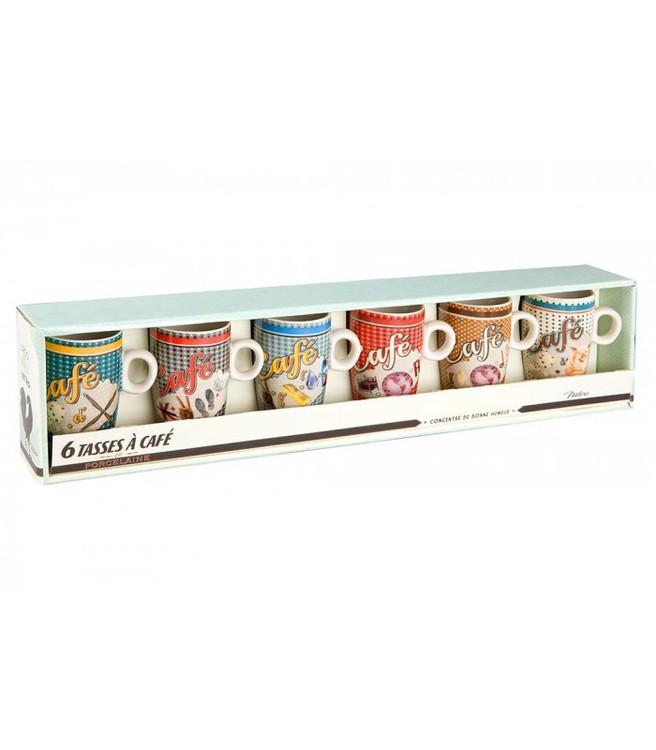 6-pack av små retrokaffekoppar i blandade färger.