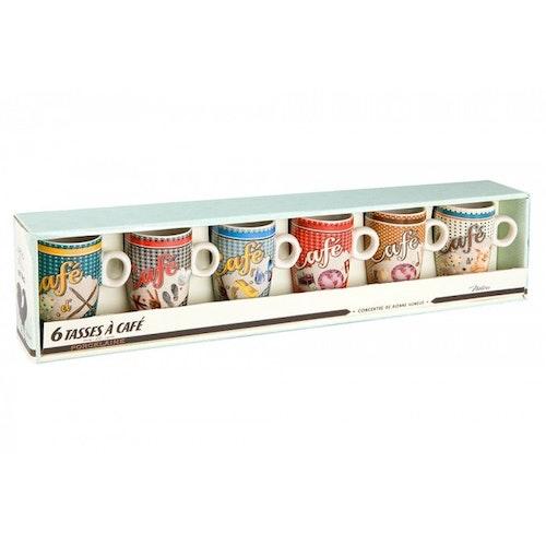 """Små kaffekoppar 6-pack """"Café Rébus"""""""
