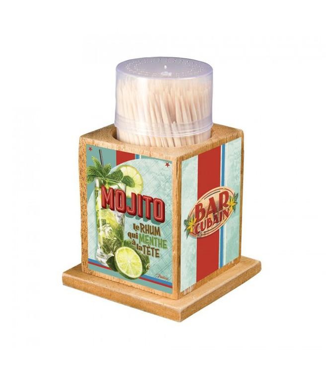 En behållare i trä för tandpetare med motivet mojito.