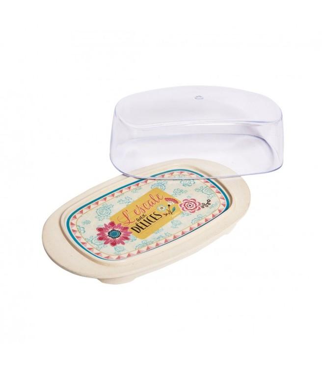Ostbricka eller smörbricka med söta blommor som mönster och med lock.