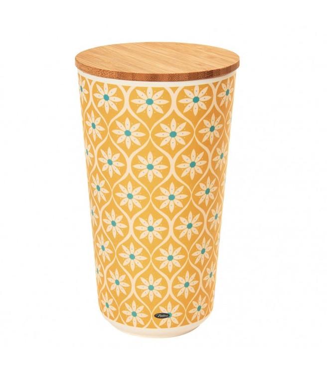Hög gulblommig burk med lock i bambu.
