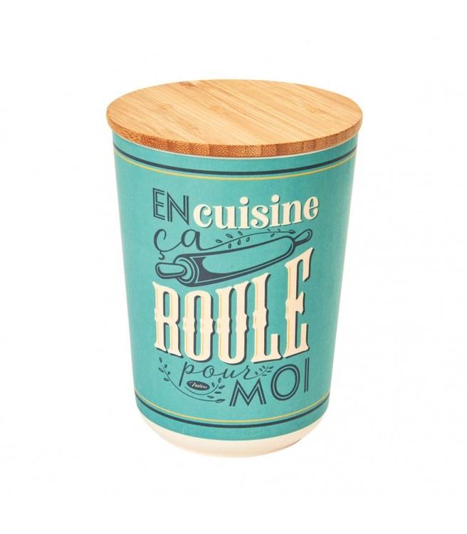 Blå mellanburk med texten Roule och en kavel på i bambu.