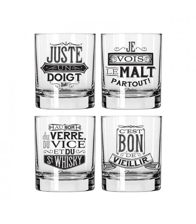 Whiskyglas med svart text på franska.