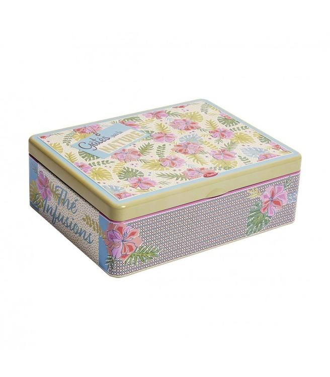 Blommor i mängder på en plåtlåda för te.