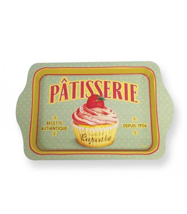 Lady cupcake metalbricka, retro