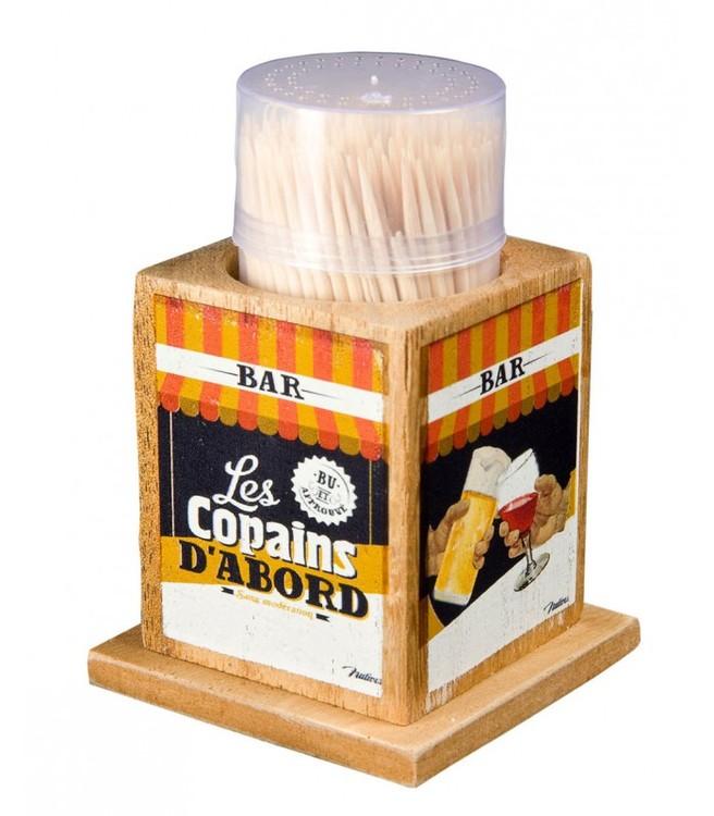 Tandpetshållare i trä, Bar.