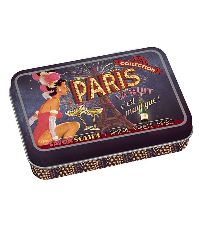 Plåtburk för dofttvål men texten Paris på.