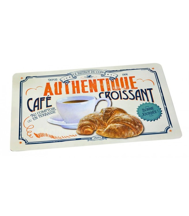 Vit bordstablett med en kaffekopp och en croissant på bilden, fikamys.