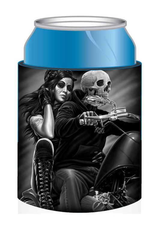 Burkkylare med motiv av en tjej bakom ett skelett på en motorcykel.