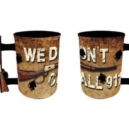 "Kaffemugg Stor ""We dont call 911"""