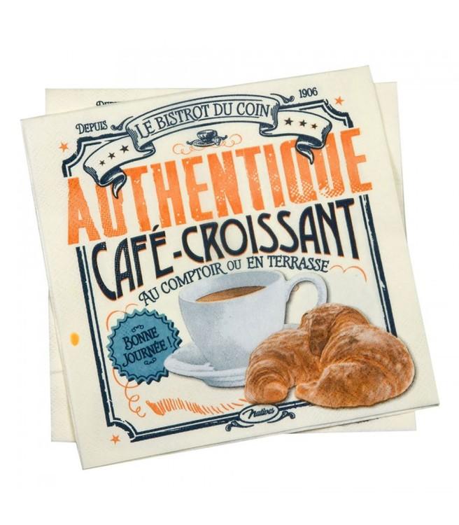 Servetter med ficka motiv, kaffe och croissant.