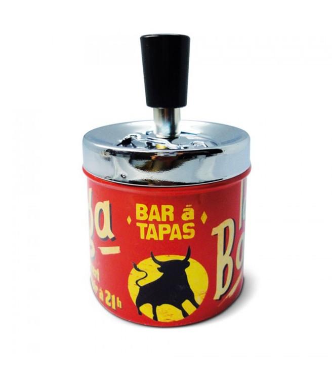 Röd askkopp med metallock, tryckfunktion, Bar a tapas.
