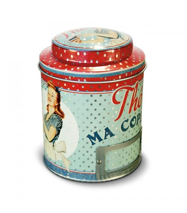 Blå och röd teburk, rund med lock och en pinuppa på.