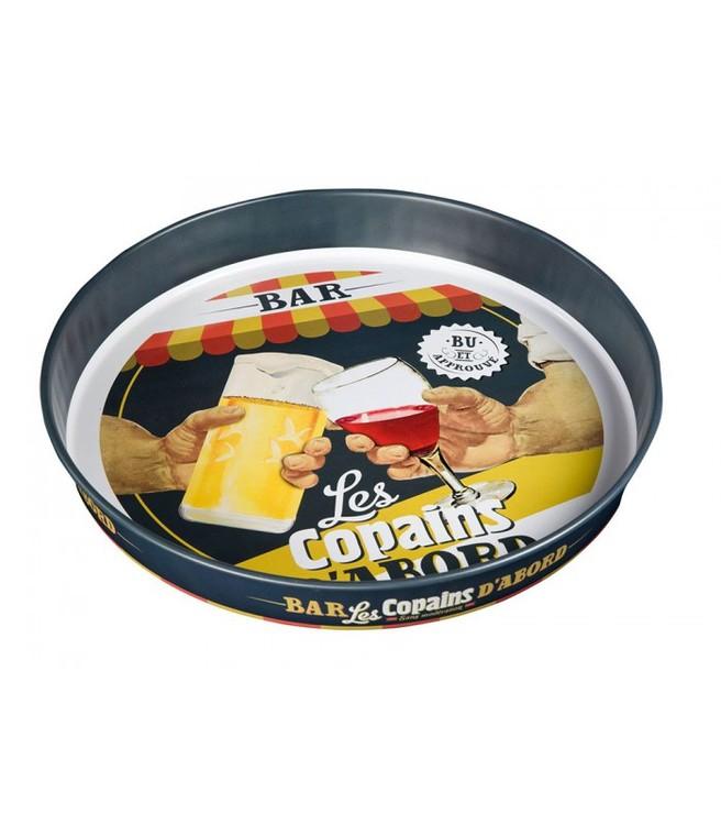 En rund bricka i plåt med barmotiv, skål och låt festen börja.