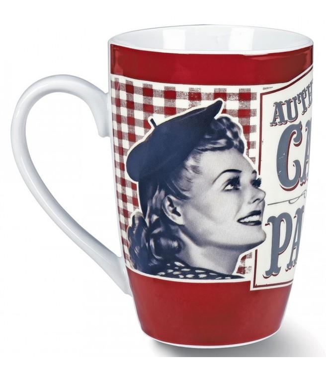 Pariskvinna på en porslinsmugg för kaffe.