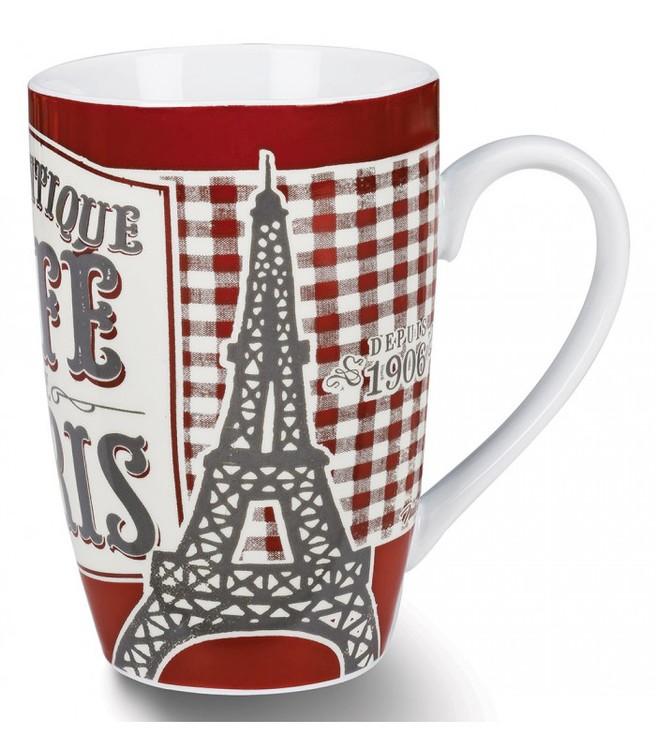 röd och vitrutig kaffemugg med Paris som motiv.