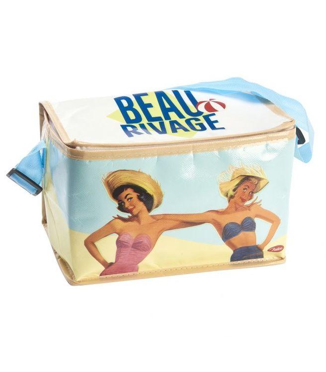 Pinuppor på en kylväska som är redo för stranden med dig, i plast.