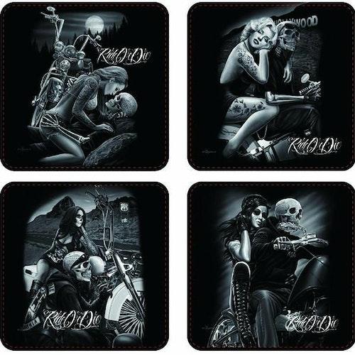 """Glasunderlägg 4-pack """"Ride or die"""""""