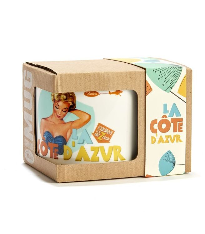 Stor kaffemugg med retromotiv, i förpackning.