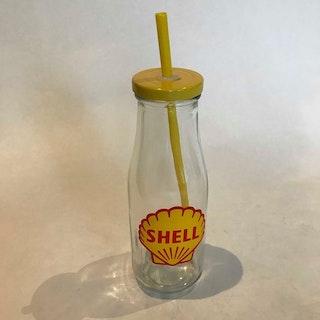 """Glasflaska med sugrör """"Shell"""""""