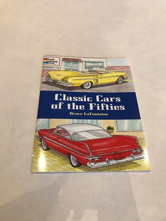 Målarbok 50-tals bilar, detaljerade.