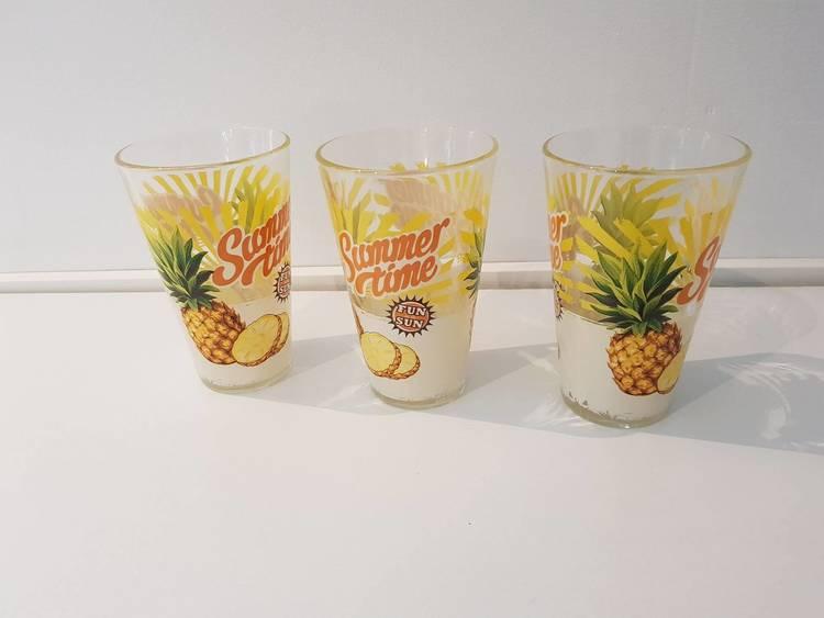 Ananasglas i 3-pack, summer time.
