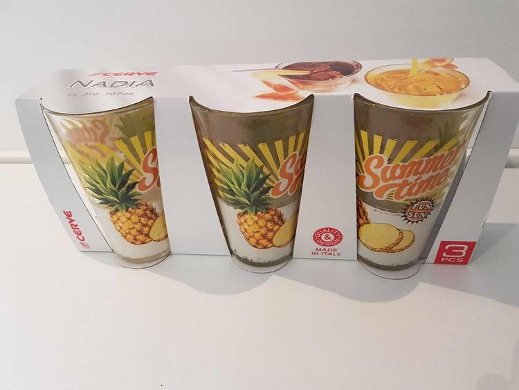 Dricksglas med ananas som motiv, 310ml.