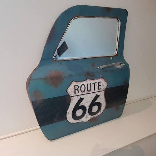 """Bildörr med spegel stor """"Route 66"""""""