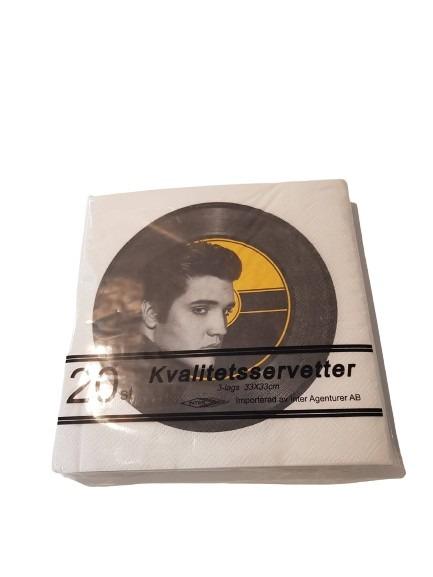20st servetter med kungen Elvis på som på en lp-skiva.