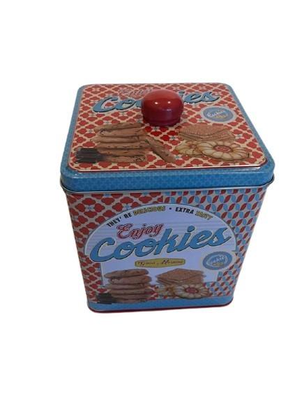 Förvaringsburk till kakor i plåt, röd och blå.