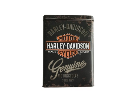 Svart plåtburk Harley Davidson Genuine.