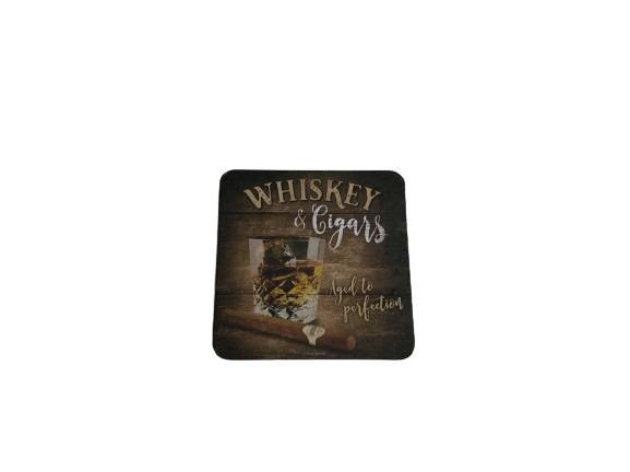 Brun/svart underlägg för glas med ett glas med whisky och en cigarr som motiv.