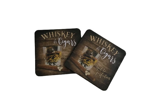 Glasunderlägg i plåt, whisky och cigarr, 2-pack.