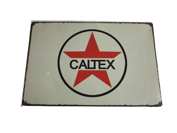 Caltex som motiv på denna plåtskylt.