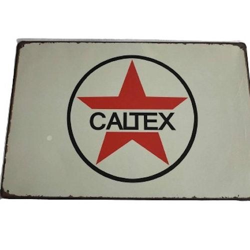 "Plåtskylt 20x30cm ""Caltex"""